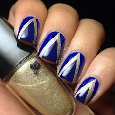 「Tape mani using Marine Chic, Golden Riviera, & Nuit Dazur from the @LancomeUSA French Riviera Summer 2014 collection.✨…」