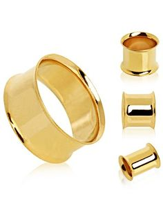 Gold Plated Flesh Tunnel Plug with Double Flares by Every Body Jewelry