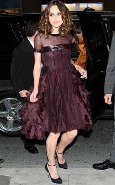 Keira Knightley wearing Chanel Fall 2007 Haute Couture Dress and Jimmy Choo Ankle-Strap Heels.
