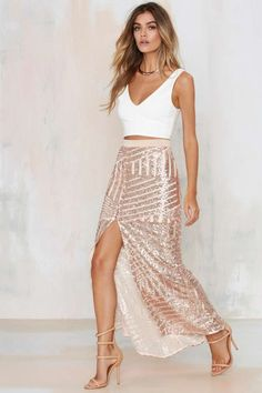 Tiger Mist Girl Around Town Sequin Skirt - Blush - Skirts