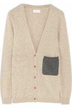 contrast pocket cashmere cardigan ++ chinti & parker