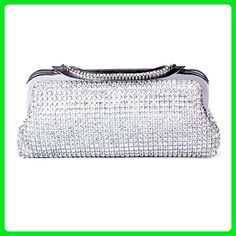 ECOSUSI Ladies Clutches Purses Crystal Rhinestone Party Evening Bags Silver - Crossbody bags (*Amazon Partner-Link)