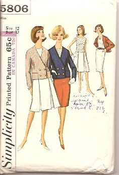 Simplicity 5806 Vintage Sewing Pattern Misses Jacket Blouse #1960s #jacket #skirt #suit #simplicity #vintage #patterns #sewing #retro #vintagestitching