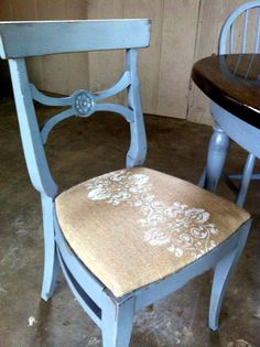 French Country Grey Dining Chair with Burlap Seat