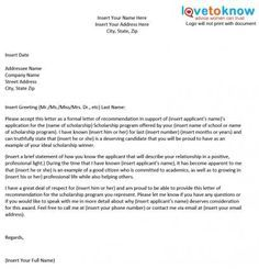 Letter Of Recommendation For Scholarship | Scholarship Recommendation Letter Scholarship Recommendation