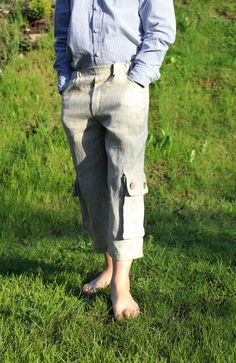 Linen bermudas with cargo pockets.Toddler boy by AdatineClothing