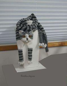 Tigré gris chat écharpe tricot écharpe gris écharpe Col