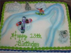 Top view of snowboard cake.