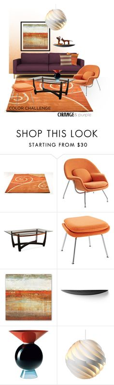 """Color Challenge: Orange and Purple"" by ysmn-pan ❤ liked on Polyvore featuring interior, interiors, interior design, home, home decor, interior decorating, Grandin Road, Menu, Venini and Gubi"