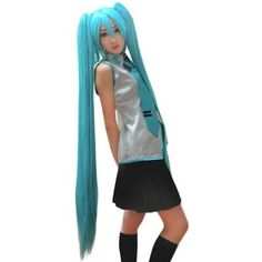 Cosplay Perücke Vocaloid Hatsune Miku Blue-Green Mixing Long straight C
