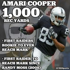 Amari Cooper most reciving yards by a Raiders Rookie ever!