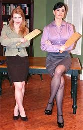 Badly behaved boy was expecting a good hiding from the headmistress, but he hadn't bargained on his form teacher joining in! He realised he'd be doing his sitting down standing up for a week, after this! Skirt Tumblr, Strict Wives, Female Supremacy, Pretty Shirts, Girls Rules, Best Husband, Mean Girls, Powerful Women, Boss Lady