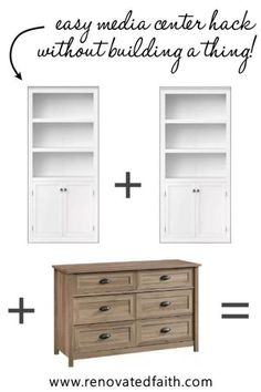 Here is a budget-friendly tutorial for a DIY Entertainment Center with bookshelves and a dresser. Plans for how to make a custom entertainment center with bookshelves without building a thing! This easy diy media center hack cheap and works with any décor – farmhouse, modern, coastal, etc. Included is how to paint a laminate entertainment center with drawers/shelves and color ideas Bookshelf Entertainment Center, Custom Entertainment Center, Diy Dresser Makeover, Furniture Makeover, Refurbished Furniture, Farmhouse Furniture, Repurposed Furniture, Tv Decor, Diy Home Decor