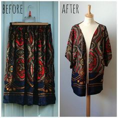Vintage Refashion Graphic Print Kimono by CamilleVintage on Etsy - Upcycled Clothes Refashioning Awesome ideas to redo clothes. New diy fashion . Kimono from a skirt Discover recipes, home ideas, style inspiration and other ideas to try. Thrift Store Outfits, Thrift Store Refashion, Diy Clothes Refashion, Refashioned Clothes, Shirt Refashion, Repurpose Clothing Refashioning, Upcycled Clothing Thrift Store, Recycled Clothing, Thrift Stores