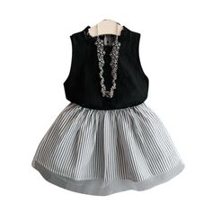 7b28d51ccca Girls Sweet Sleeveless T-shirt+Stripe Short Skirt Set