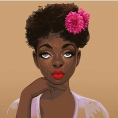 @Regrann from @brooklynbloomsnyc -  Red Lip so they know it's real.  #GirlBoss  Beautiful art by @el.carna . . . #redlips #flowers #art #blackart #paint #digitalart #flowersinmyhair #afro #naturalhair #goddess #blackgirlmagic #brooklynbloomsnyc #beauty