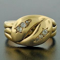 A. Brandt + Son - Victorian 18kt Gold Double Snake Ring w/ Diamonds