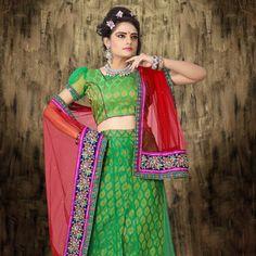 Green Net Lehenga Choli with Dupatta