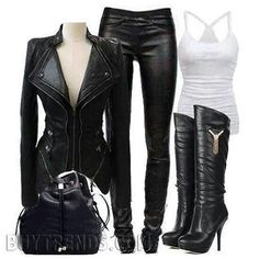 Trendy Ideas for motorcycle outfit for women biker chick black - *Sport Bikes: Motorcycles - Gothic Outfits, Edgy Outfits, Fashion Outfits, Womens Fashion, Punk Fashion, Lolita Fashion, Fashion Boots, Style Fashion, Biker Chick Outfit