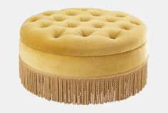 Round buttoned footstool in Sanderson Taormina velvet #WesleyBarrell
