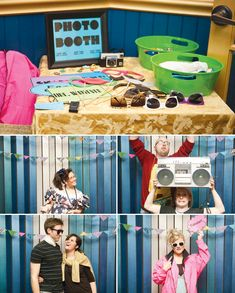 "Creative cassette tape garlands and centerpieces – Clever homemade VHS ""cake stands"" paired with slinky backdrops – A photo booth with amazing props and accessories (Just look at that jean vest!) – Neon colors and classic 80′s style fonts  patterns – Throwback decor like Rubix cubes, Jenga, Nintendo  crazy-haired Trolls"
