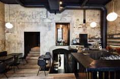 O Boufes is acclaimed chef Konstantin Filippous's wine bistro in the city Centre of Vienna. Hearty food and excellent wine list. Stifado, Wine Bistro, Cafe Restaurant, Fine Dining, Vienna, Wines, Interior Design, Furniture, Bar