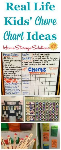 Lots of real life examples of kids' chore charts to get children involved in household tasks {featured on Home Storage Solutions 101}