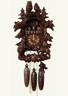 Heiligenberg - 155/8 RM - from Hubert Herr, synonymous with the creation of premium quality cuckoo clocks for over 200 years. Employing talented and skilled woodcarvers, they combine traditional techniques with todays;  producing uniquely beautiful hand crafted clocks, which sets them far apart from others.  All Hubert Herr cuckoo clocks are certified by the Black Forest clock association; to be mechanically operated and handmade in the Black Forest, using major parts sourced from that…