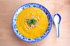 Rich, creamy and healthy! Infused with red curry, lime and ginger, this sweet potato coconut soup is pureed with coconut milk. Vegan, gluten-free, soy-free.