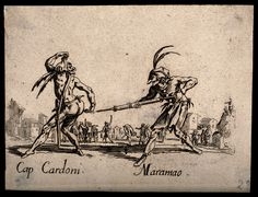 File:Two Commedia dell'arte street entertainers using a clyster a ...