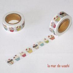 Washi Tape cupcakes corazones