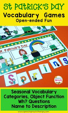 $ Need a simple, quick-play activity for St Patrick's Day? Open-ended or use with included questions. This is one of three games in the pack. You'll find Easter and Spring games too!