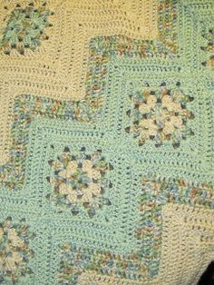 """Granny Squares and Ripples Afghan Pattern- Don""""t know that I would have the patience for this one but I could ask my mom to make it for me! She loves challenging blankets!"""