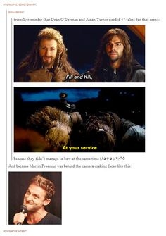Dean O'Gorman (Fili) and Aidan Turner (Kili) needed 47 takes for this scene because they didn't manage to bow at the same time. And because Martin Freeman was behind the camera making faces.