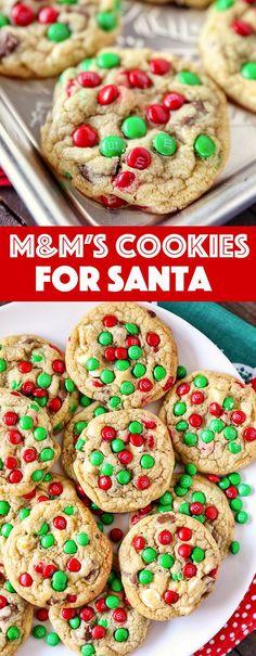 M&M's Christmas Cookies for Santa - No. 2 Pencil Quick Cookies, Buttery Cookies, Yummy Cookies, Holiday Baking, Christmas Baking, Christmas Cookies, Santa Cookies, Christmas Chocolates, Christmas Sweets