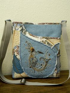Hummingbird Denim Patchwork Shoulder Bag-Hand by AllasOriginals
