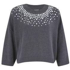MICHAEL MICHAEL KORS Women's Embellished Neck Cropped Sweatshirt -... (£195) ❤ liked on Polyvore featuring tops, hoodies, sweatshirts, grey, boxy sweatshirt, gray sweatshirt, 3/4 sleeve tops, cropped sweatshirt and sweat shirts