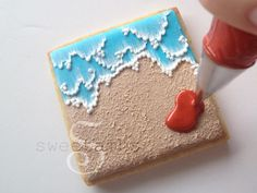 Beach Cookies by SweetAmbsSweetAmbs Blue Icing, White Icing, Royal Icing, Teddy Bear Cookies, Brush Embroidery, Summer Cookies, Cookie Tutorials, Pirate Birthday, Icing Recipe