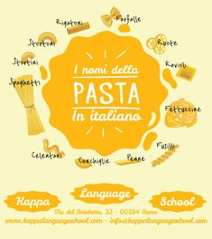 Learn Italian words: la pasta #italianinfographic