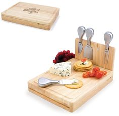 Add some panache to any party while cheering your favorite team with this stylish cheese cutting board. Compact and convenient, the top level lifts off to reveal four brushed stainless steel cheese tools. The tools are magnetically secured to a wooden strip that lifts up so you can close the cutting board and display the tools!