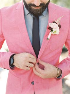 A modern preppy wedding shoot in shades of bright coral and soft dove gray, with a gorgeous colored wedding dress and chic Southern style! Wedding Men, Wedding Suits, Wedding Shoot, Wedding Bridesmaids, Trendy Wedding, Wedding Styles, Wedding Ideas, Wedding Goals, Wedding Dresses