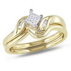 Beautiful Princess and Baguette Diamond Wedding Set in Yellow Gold