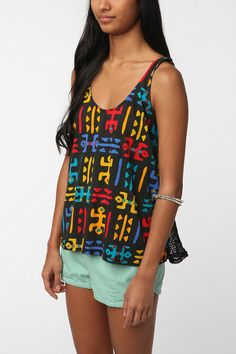 Title Unknown Printed Mesh Back Tank  #UrbanOutfitters