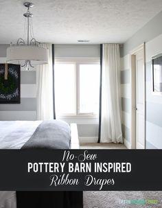 Easy No-Sew Pottery Barn Inspired Ribbon Drapes DIY - Life On Virginia Street