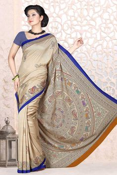 Cream Georgette Saree and Blue Blouse Price:-£25.00 Indian Designer Cream Sarees are now in store presents by Andaaz Fashion. Embellished with printed work and Blue Georgette Short Sleeve Blouse. This is perfect for party wear, wedding, festival wear, casual, ceremonial. http://www.andaazfashion.co.uk/cream-georgette-saree-and-blue-blouse-dmv7887.html