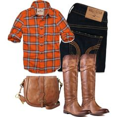 A fashion look from October 2012 featuring Hollister Co. jeans, Luichiny boots and FOSSIL shoulder bags. Browse and shop related looks. Country Girl Style, My Style, Country Fall, Country Girls, Fall Winter Outfits, Autumn Winter Fashion, Autumn Fall, Fall Fashion, Pretty Outfits