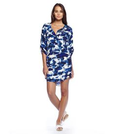 MICHAELSTARS.COM: Michael Stars Abstract Printed Crepe Short Dress for $148.0 :: Faearch