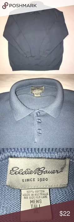 Mens XL/tall Eddie Bauer collared 3 button sweater Men's collared Eddie Bauer sweater. Elastic cuffs and waist. Features three buttons as pictured. The color is greyish blue / perrywinkle. Stylish sweater in a size XL tall making a bit longer than a regular XL. Measurements are pictured in photos. Very gently used condition. A stylish piece well manufactured as all Eddie Bauer products always are. No stains , no rips , no tears or pulls. Eddie Bauer Shirts Polos