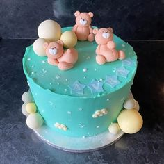 New baby boy celebration or baby shower cake. Covered in blue buttercream, decorated with fondant balloons and three cute fondant bear sculptures, decorated with Baking Time Club white non pareils. Baby Boy Cakes, Cakes For Boys, Baby Shower Cakes, New Baby Boys, Fondant, New Baby Products, Celebration, Balloons, Sculptures