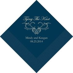 """Tying The Knot"""" Design Personalized Napkins (24 Colors Available ..."""